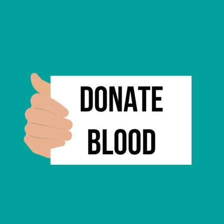 Man showing paper DONATE BLOOD text. Vector Illustration