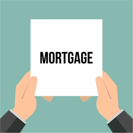 Man showing paper MORTGAGE text. Vector Illustration