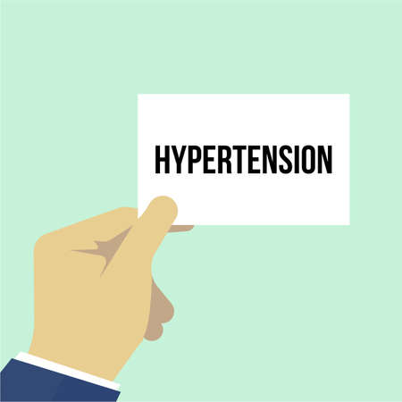 Man showing paper HYPERTENSION text. Vector Illustration