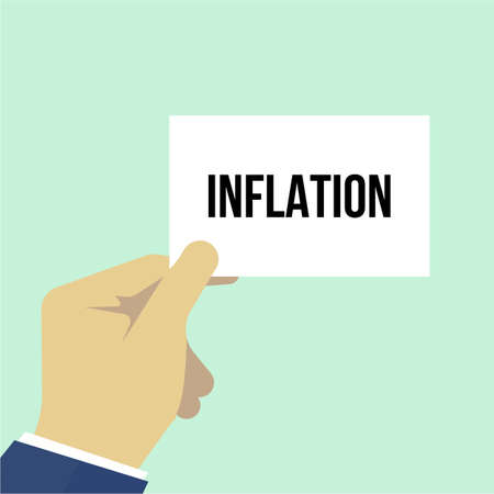 Man showing paper INFLATION text. Vector Illustration