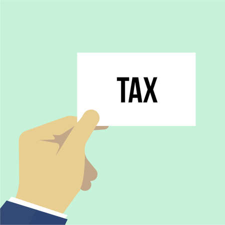 Man showing paper TAX text. Vector Illustration