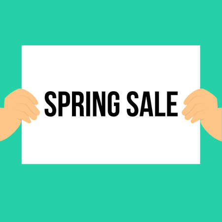 Man showing paper SPRING SALE text. Vector Illustration