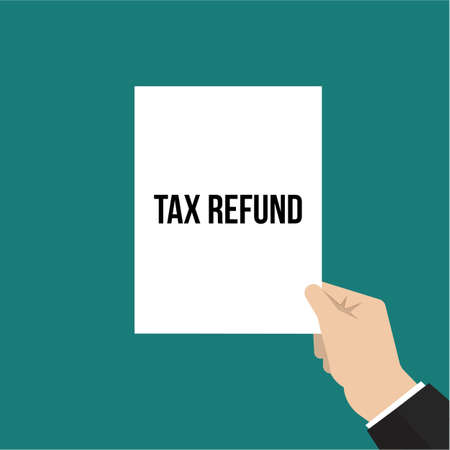 Man showing paper TAX REFUND text. Vector Illustration
