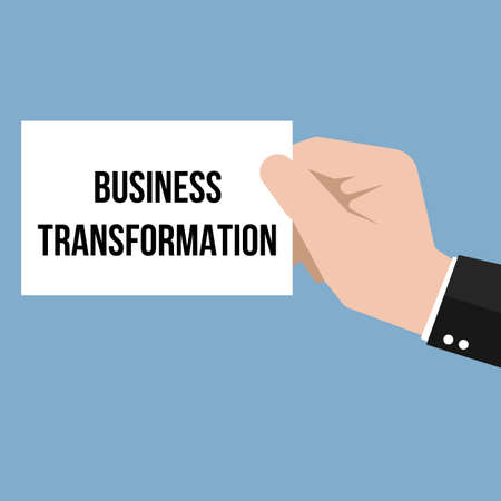 Man showing paper BUSINESS TRANSFORMATION text. Vector Illustration