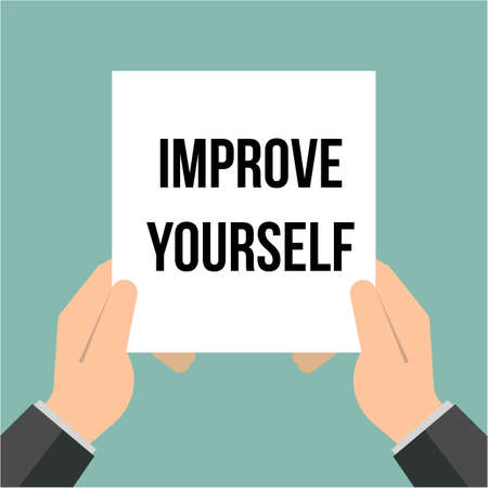 Man showing paper IMPROVE YOURSELF text. Vector Illustration