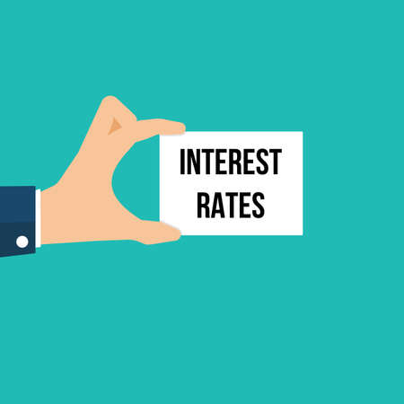 Man showing paper INTEREST RATES text. Vector Illustration