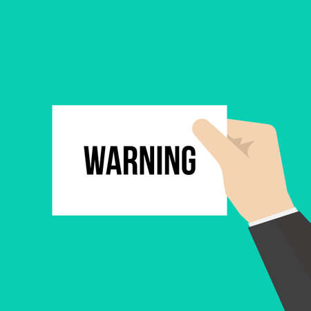 Man showing paper WARNING text. Vector Illustration