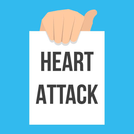 Man showing paper HEART ATTACK text. Vector Flat Illustration