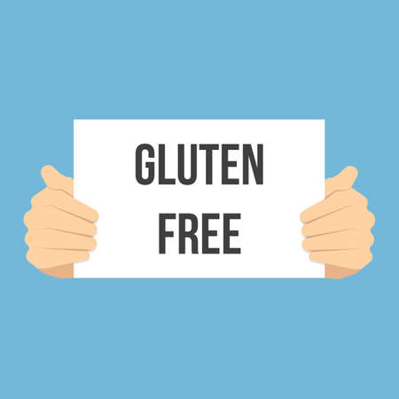 Man showing paper GLUTEN FREE text. Vector Flat Illustration