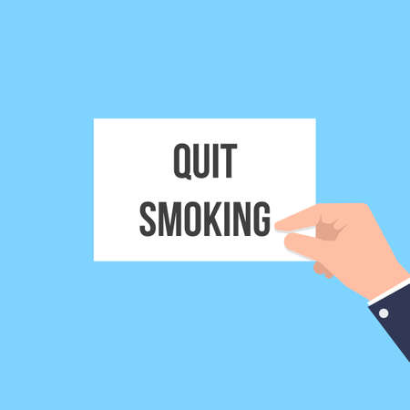 Man showing paper QUIT SMOKING text. Vector Flat Illustration