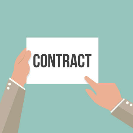 Man showing paper CONTRACT text. Vector Flat Illustration