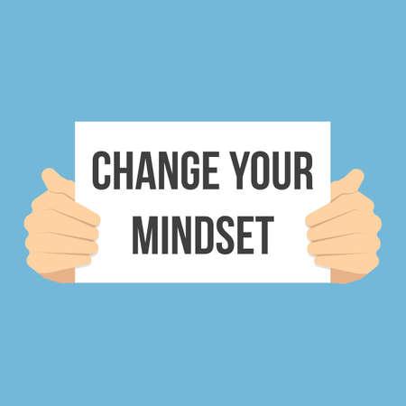Man showing paper CHANGE YOUR MINDSET. Vector Flat Illustration