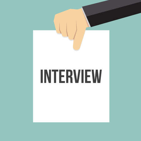 Man showing paper INTERVIEW text. Vector Flat Illustration