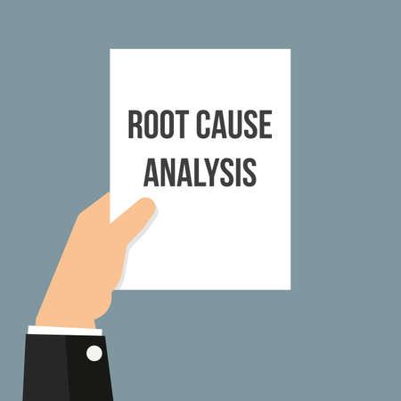 Man showing paper ROOT CAUSE ANALYSIS. Vector Flat Illustration Standard-Bild - 106052494