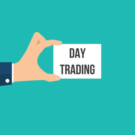 Man showing paper DAY TRADING text. Vector Flat Illustration