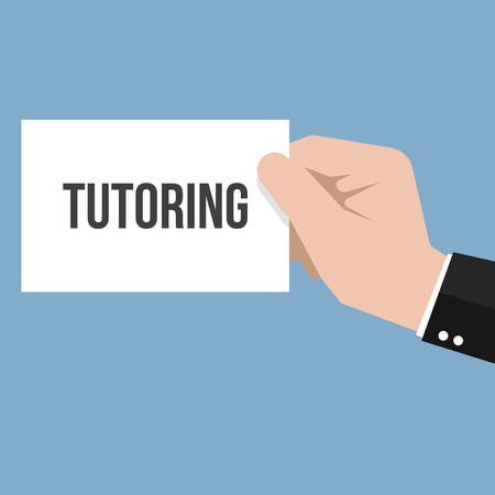 Man showing paper TUTORING text. Vector Flat Illustration