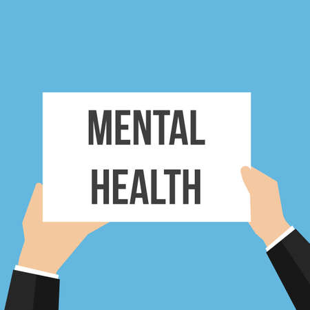 Man showing paper MENTAL HEALTH text. Vector Flat Illustration