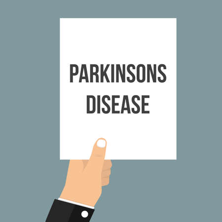 Man showing paper PARKINSONS DISEASE text. Vector Flat Illustration