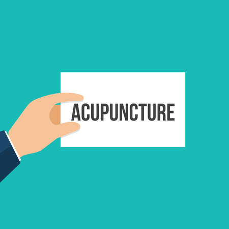 Man showing paper ACUPUNCTURE text. Vector Flat Illustration