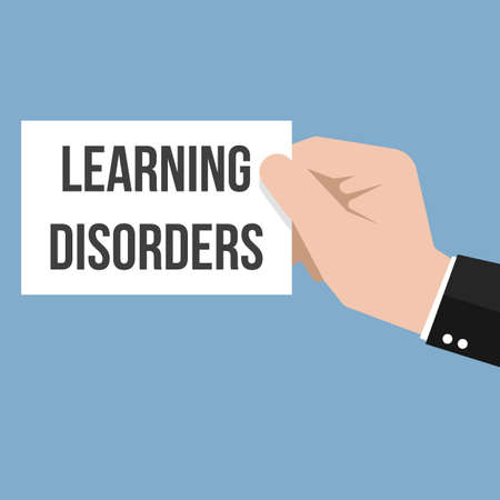 Man showing paper LEARNING DISORDERS text. Vector Flat Illustration Stock Illustratie