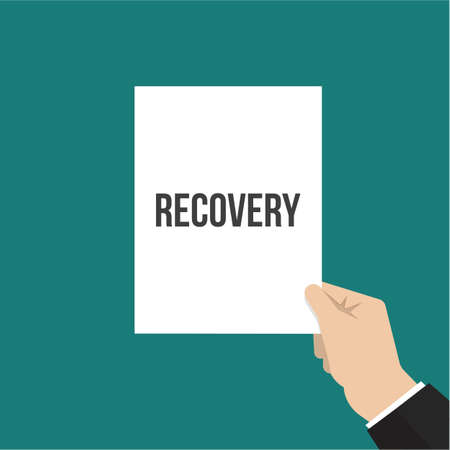 Man showing paper RECOVERY text. Vector Flat Illustration