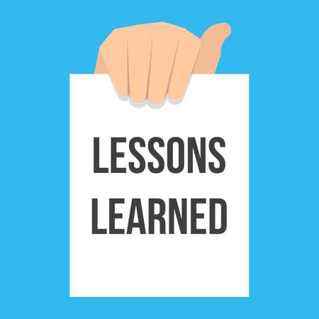 Homme montrant le texte des leçons apprises sur papier. Illustration de plat vectorielle