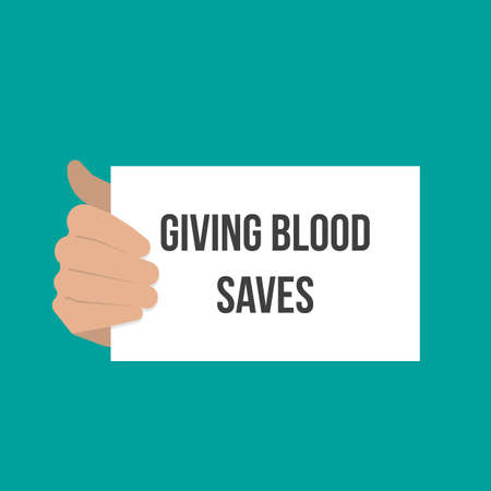 Man showing paper GIVING BLOOD SAVES. Vector flat illustration