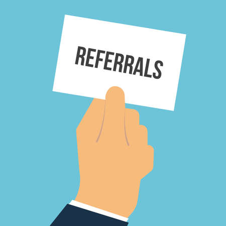 Man showing paper REFERRALS text. Vector flat illustration