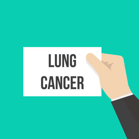 Man showing paper LUNG CANCER text. Vector Flat Illustration