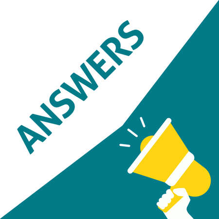 Hand Holding Megaphone With ANSWERS Announcement. Flat Vector Illustration