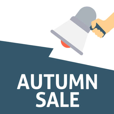 Hand Holding Megaphone With AUTUMN SALE Announcement. Flat Vector Illustration