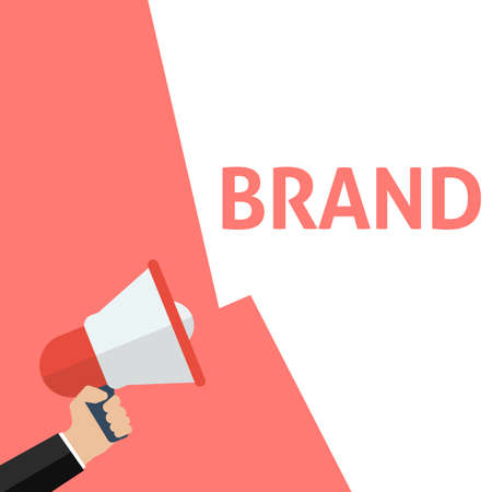 Hand Holding Megaphone With BRAND Announcement. Flat Vector Illustration