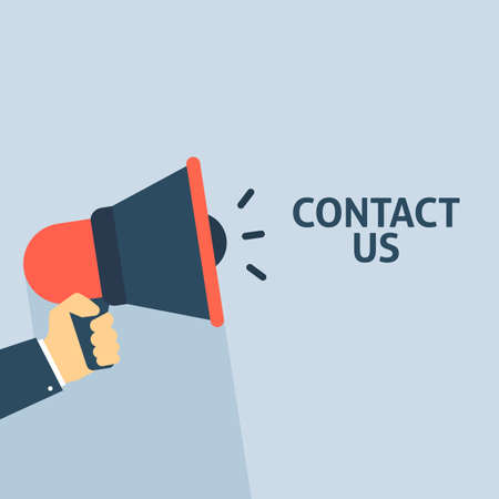 Hand Holding Megaphone With CONTACT US Announcement. Flat Vector Illustration