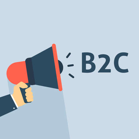 Hand Holding Megaphone With B2C Announcement. Flat Vector Illustration