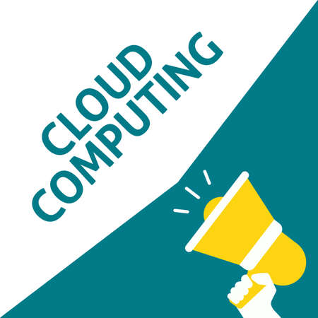 Hand Holding Megaphone With CLOUD COMPUTING Announcement. Flat Vector Illustration