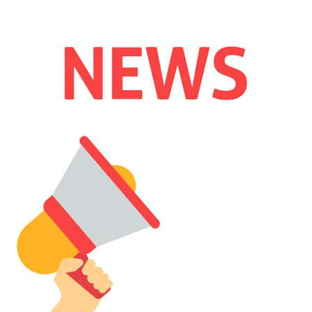 Hand Holding Megaphone With NEWS Announcement. Important Announcement. Urgent Message. Sale News Update. Disclosure Bubble. Vector Illustration. Flat Vector Illustration Çizim