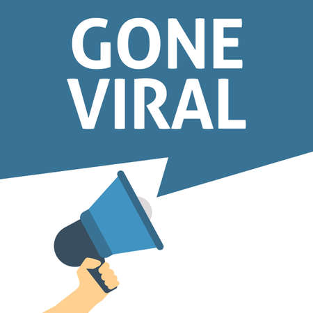 Hand Holding Megaphone With GONE VIRAL Announcement. Flat Vector Illustration Çizim