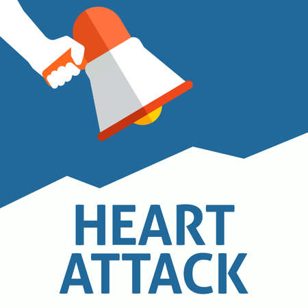 Hand Holding Megaphone With HEART ATTACK Announcement. Flat Vector Illustration Stock Illustratie