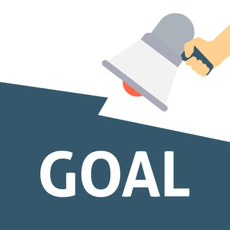 Hand Holding Megaphone With GOAL Announcement. Flat Vector Illustration