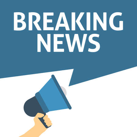 Hand Holding Megaphone With BREAKING NEWS Announcement. Flat Vector Illustration