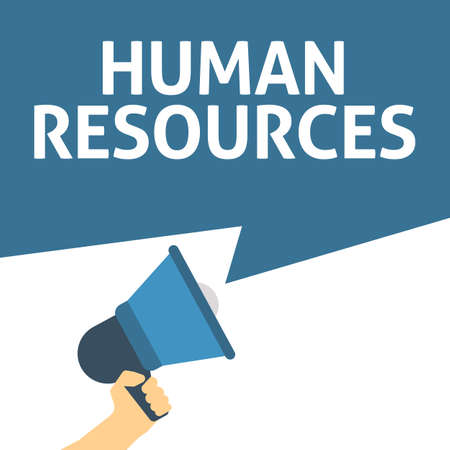 Hand Holding Megaphone With HUMAN RESOURCES Announcement. Flat Vector Illustration