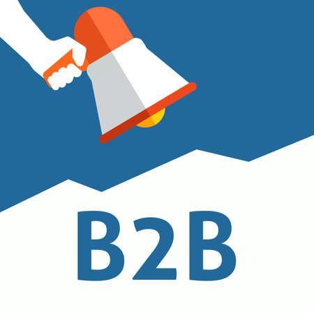 Hand Holding Megaphone With B2B Announcement. Flat Vector Illustration