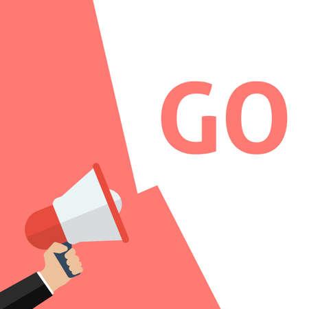 Hand Met Megafoon Met GO-aankondiging. Platte vectorillustratie