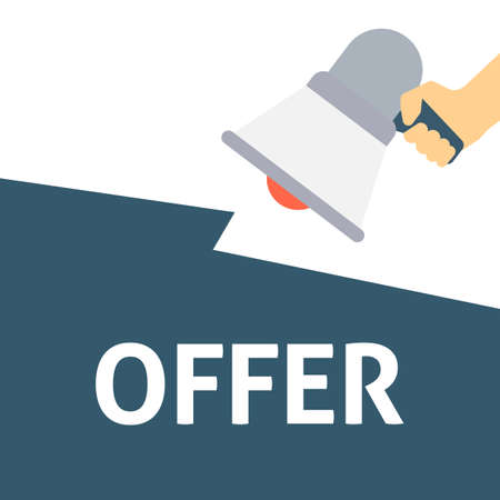 Hand Holding Megaphone With OFFER Announcement. Flat Vector Illustration