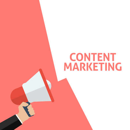 Hand Holding Megaphone With CONTENT MARKETING Announcement. Flat Vector Illustration