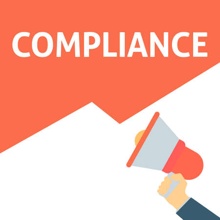 Hand Holding Megaphone With COMPLIANCE Announcement. Flat Vector Illustration