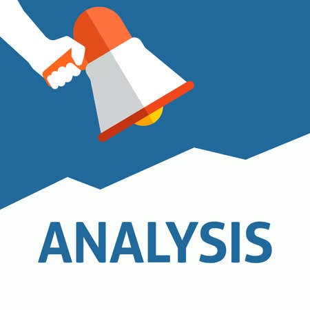 Hand Holding Megaphone With ANALYSIS Announcement. Flat Vector Illustration Stock Illustratie