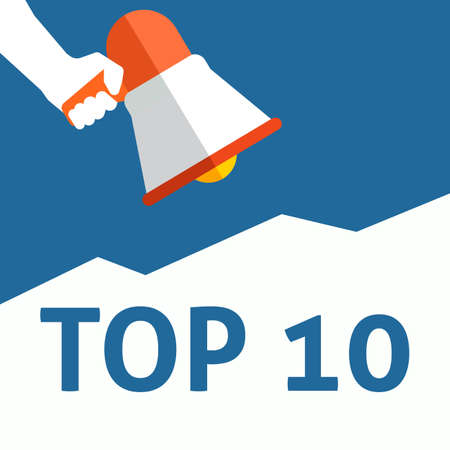 TOP 10 Announcement. Hand Holding Megaphone With Speech Bubble. Flat Vector Illustration Vectores