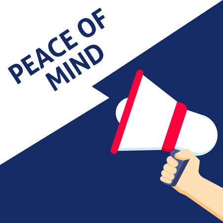 PEACE OF MIND Announcement. Hand Holding Megaphone With Speech Bubble. Flat Vector Illustration