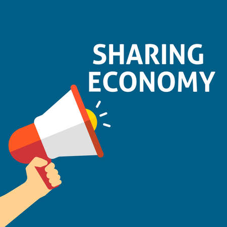 SHARING ECONOMY Announcement. Hand Holding Megaphone With Speech Bubble. Flat Vector Illustration Çizim